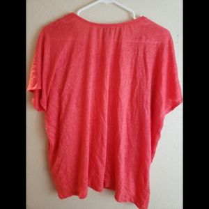 J. Crew Tops - J Crew XL Linen Coral Red Embroidered Tassel Top